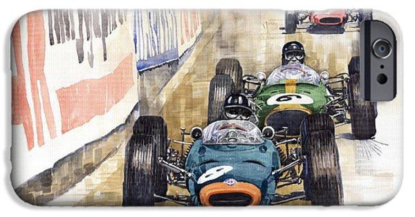 Watercolour Paintings iPhone Cases - Monaco GP 1964 BRM Brabham Ferrari iPhone Case by Yuriy  Shevchuk