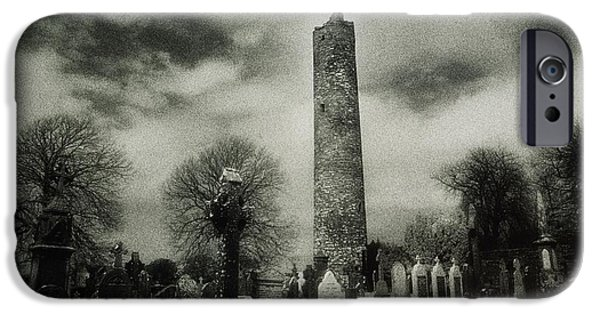 Headstones iPhone Cases - Monasterboice, Co Louth, Ireland Round iPhone Case by Sici