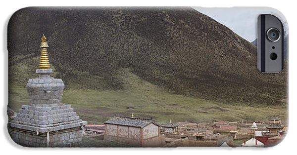 Tibetan Buddhism iPhone Cases - Monastery Buildings In Mountain Valley iPhone Case by Phil Borges