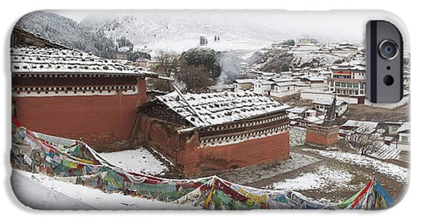 Tibetan Buddhism iPhone Cases - Monastery In Valley Of Druk-chu At iPhone Case by Phil Borges