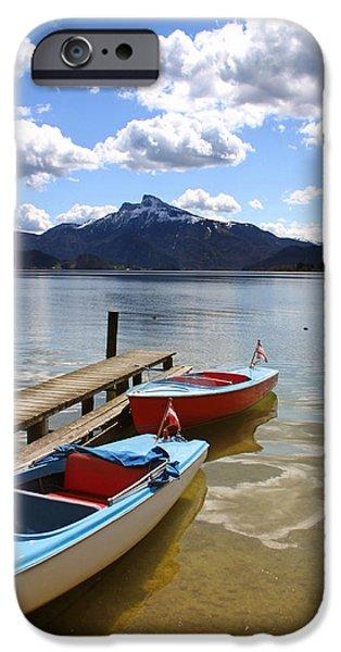 Mondsee Lake Boats iPhone Case by Lauri Novak
