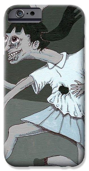 Eerie Drawings iPhone Cases - Monoko Yume-Nikki iPhone Case by Ralf Schulze