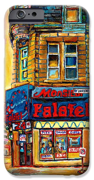 Montreal Land Marks Paintings iPhone Cases - Monsieur Falafel iPhone Case by Carole Spandau