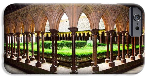Abbey iPhone Cases - Mont Saint Michel cloister garden iPhone Case by Elena Elisseeva