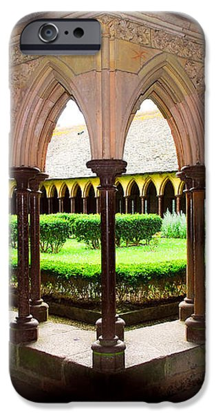 Mont Saint Michel cloister garden iPhone Case by Elena Elisseeva