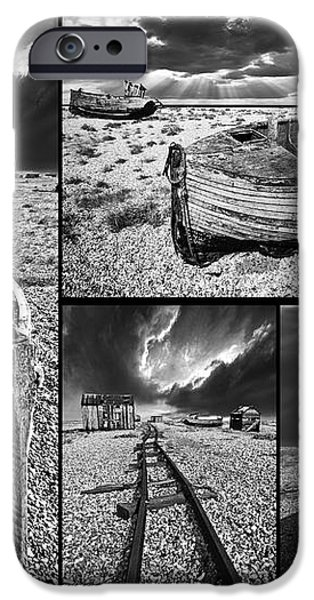 montage of wrecked boats iPhone Case by Meirion Matthias
