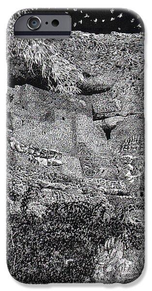 Pen And Ink Framed Prints iPhone Cases - Montezuma Castle  iPhone Case by Jack Pumphrey