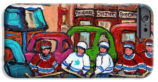 Montreal Bagels iPhone Cases - Montreal Bagels And Hockey iPhone Case by Carole Spandau