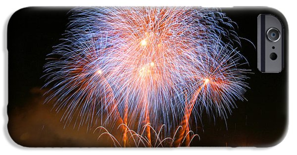 Fireworks iPhone Cases - Montreal Fireworks Celebration  iPhone Case by Pierre Leclerc Photography