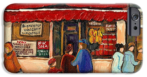 Montreal Land Marks Paintings iPhone Cases - Montreal Hebrew Delicatessen Schwartzs By Montreal Streetscene Artist Carole Spandau iPhone Case by Carole Spandau