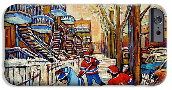 Montreal Land Marks Paintings iPhone Cases - Montreal Hockey Game With 3 Boys iPhone Case by Carole Spandau