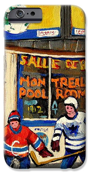 MONTREAL POOLROOM HOCKEY FANS iPhone Case by CAROLE SPANDAU