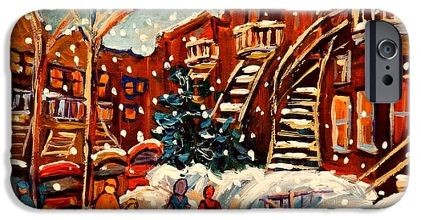 Snowy Day Paintings iPhone Cases - Montreal Street In Winter iPhone Case by Carole Spandau
