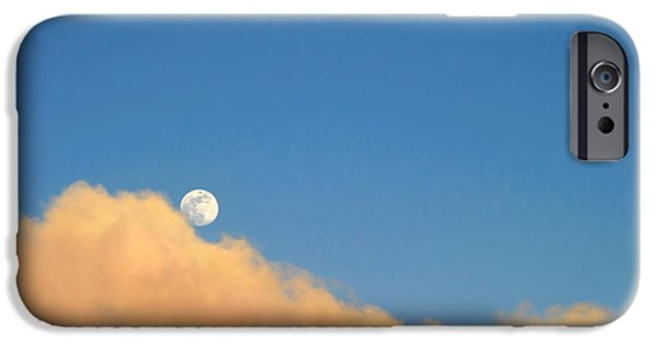 Ventura California iPhone Cases - Moon At Sunset iPhone Case by Henrik Lehnerer