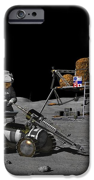 Moon Exploration, Artwork iPhone Case by Walter Myers