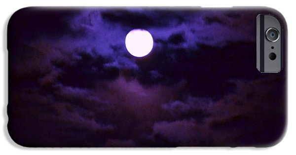 Moon Pyrography iPhone Cases - Moon in purple haze iPhone Case by Artie Wallace