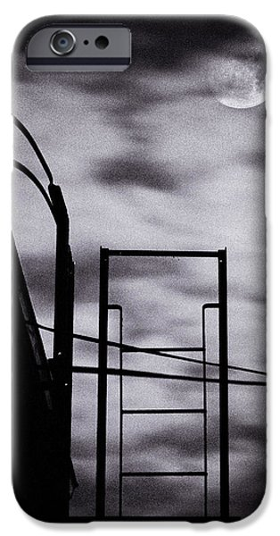 moon over brooklyn rooftop iPhone Case by Gary Heller