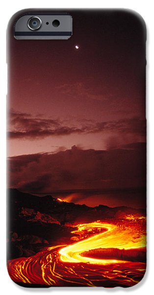 Moon Over Lava At Dawn iPhone Case by Peter French - Printscapes