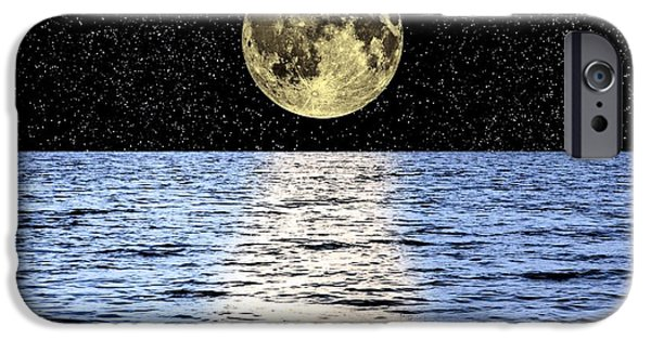 Sea Moon Full Moon Photographs iPhone Cases - Moon Over The Sea, Composite Image iPhone Case by Victor De Schwanberg