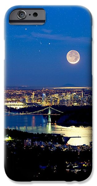 Burrard Inlet iPhone Cases - Moon Over Vancouver, Time-exposure Image iPhone Case by David Nunuk