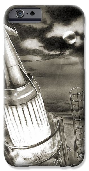 Observer iPhone Cases - Moon Rocket Launch, 1950s Artwork iPhone Case by Detlev Van Ravenswaay