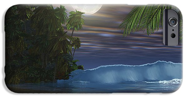 Sea Moon Full Moon iPhone Cases - Moonlight Shines Down On The Beach iPhone Case by Corey Ford