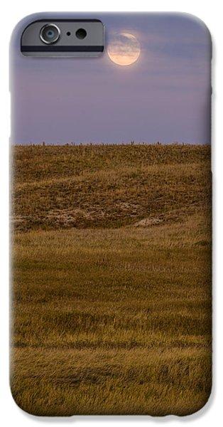 Moonrise Over Badlands South Dakota iPhone Case by Steve Gadomski