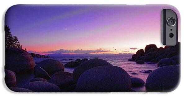 Lake Tahoe iPhone Cases - Moonrise over Tahoe iPhone Case by Rick Berk