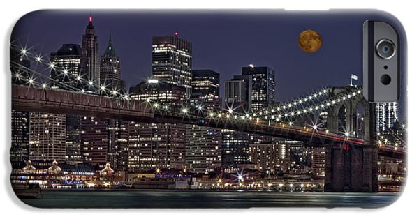 Freedom iPhone Cases - Moonrise Over The Brooklyn Bridge iPhone Case by Susan Candelario