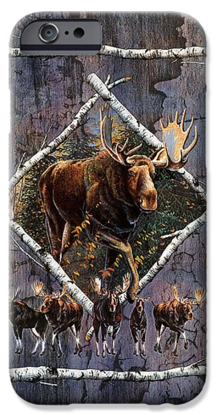 Outdoors iPhone Cases - Moose Lodge iPhone Case by JQ Licensing