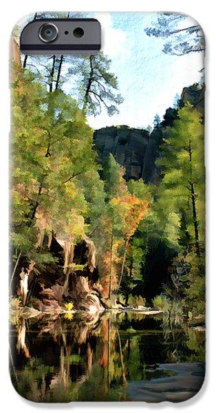 Oak Creek Digital Art iPhone Cases - Morning at Oak Creek Arizona iPhone Case by Kurt Van Wagner