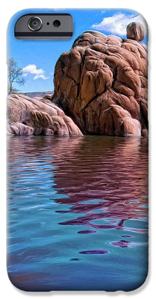 Prescott Paintings iPhone Cases - Morning at Watson Lake iPhone Case by Dominic Piperata