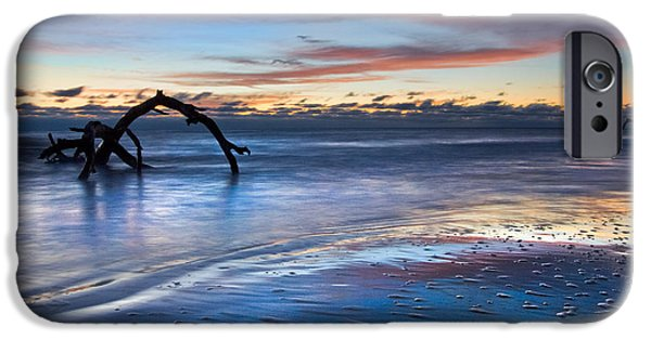 Tidal Photographs iPhone Cases - Morning Calm at Driftwood Beach iPhone Case by Debra and Dave Vanderlaan
