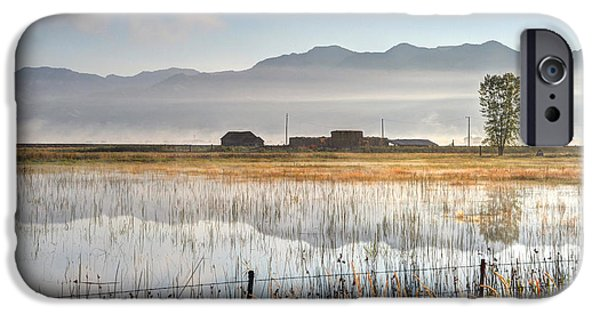 Cutler iPhone Cases - Morning Mists of Cutler Marsh - Utah iPhone Case by Gary Whitton