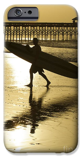 Morning iPhone Cases - Morning Session Longboard Surfing Folly Beach SC  iPhone Case by Dustin K Ryan