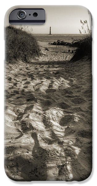 Folly iPhone Cases - Morris Island Lighthouse Pathway iPhone Case by Dustin K Ryan