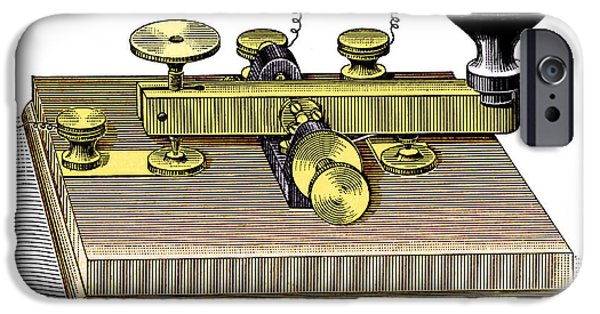 Electrical Equipment iPhone Cases - Morse Telegraph Key iPhone Case by Sheila Terry