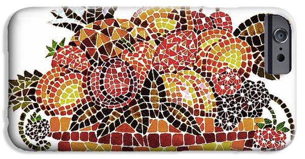 Strawberry Art iPhone Cases - Mosaic Fruits iPhone Case by Irina Sztukowski