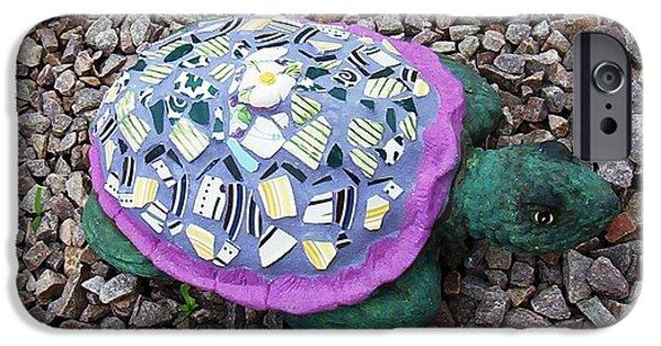 Animals Ceramics iPhone Cases - Mosaic Turtle iPhone Case by Jamie Frier
