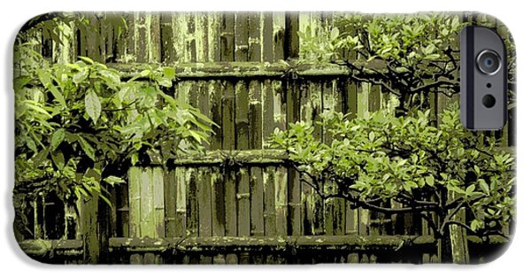 Bamboo Fence iPhone Cases - Mossy Bamboo Fence - Digital Art iPhone Case by Carol Groenen
