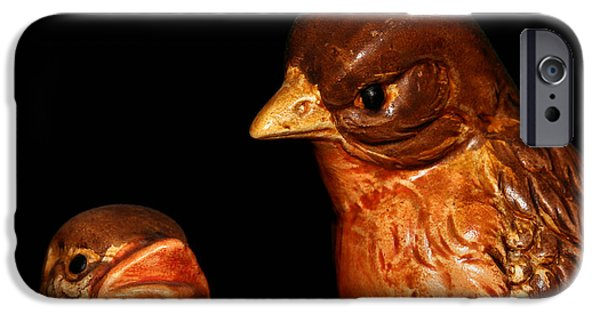 Baby Bird iPhone Cases - Mother And Baby Robin Birds iPhone Case by Tracie Kaska
