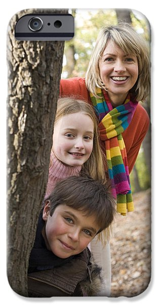 Bonding iPhone Cases - Mother And Children Playing In A Wood iPhone Case by Ian Boddy