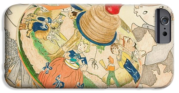 Mother Goose iPhone Cases - Mother Goose Spinning Top iPhone Case by Glenda Zuckerman