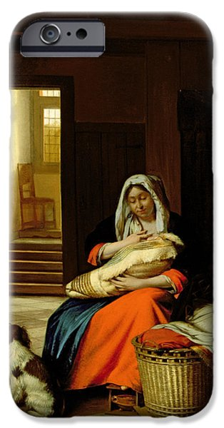 Flooring iPhone Cases - Mother Nursing Her Child iPhone Case by  Pieter de Hooch