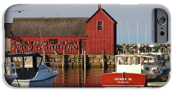 Lobster Shack iPhone Cases - Motif No. 1 Reflections Rockport Massachusetts iPhone Case by Michelle Wiarda