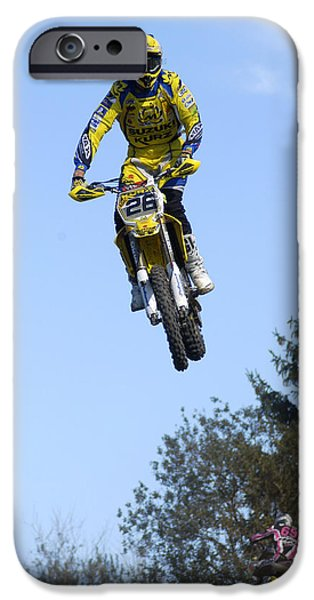 Motocross Rider jumping high iPhone Case by Matthias Hauser