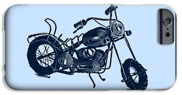 Computer Art Pyrography iPhone Cases - MotorBike 1a iPhone Case by Mauro Celotti