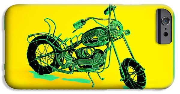 Leaning Pyrography iPhone Cases - MotorBike 1b iPhone Case by Mauro Celotti