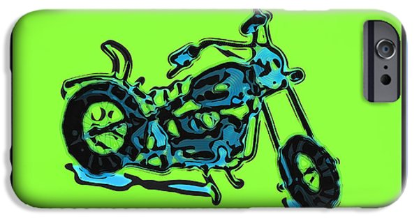 Computer Art Pyrography iPhone Cases - MotorBike 1c iPhone Case by Mauro Celotti