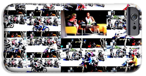 Abstract Digital Photographs iPhone Cases - Motorbike watching on Ubud streets   iPhone Case by Funkpix Photo Hunter